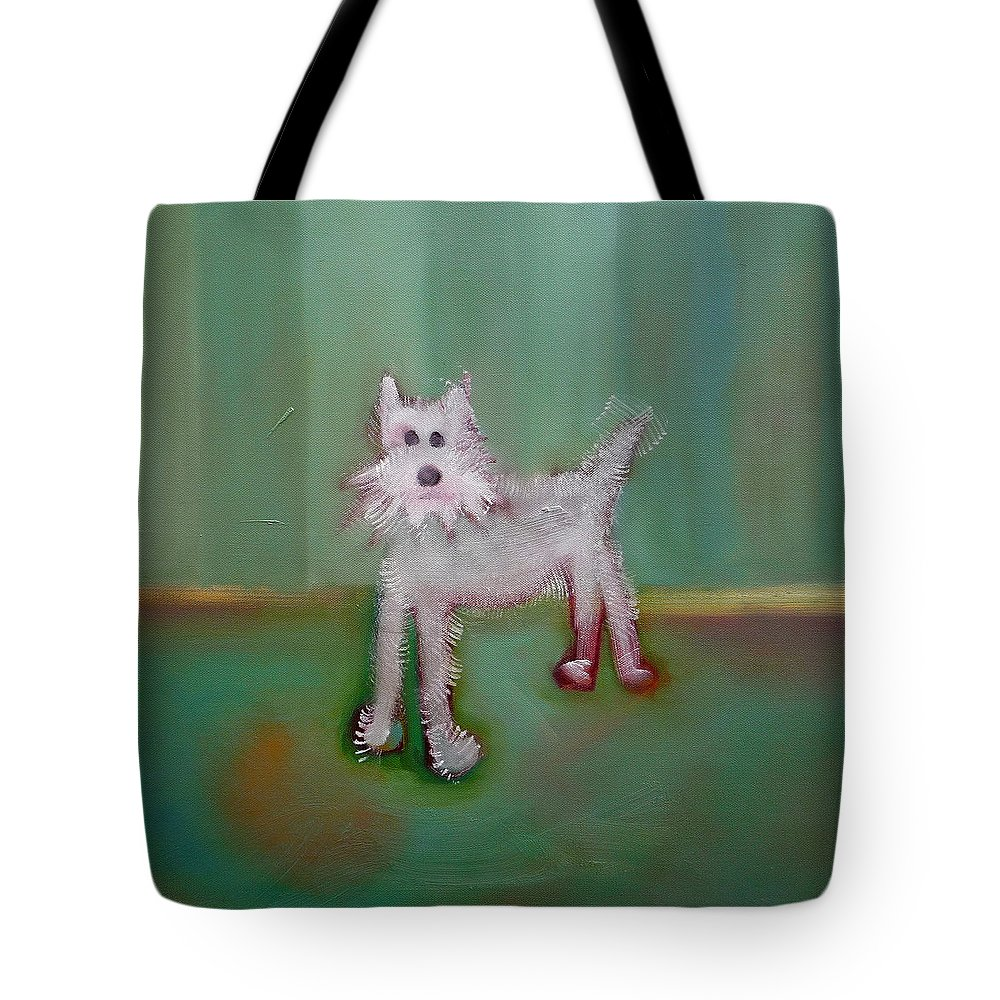 White Puppy Tote Bag featuring the painting Snowy by Charles Stuart