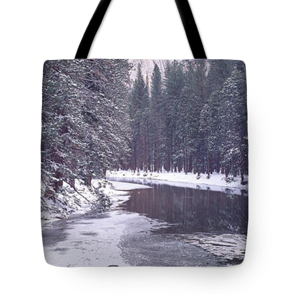Photography Tote Bag featuring the photograph Snowy Merced River In Yosemite by Panoramic Images