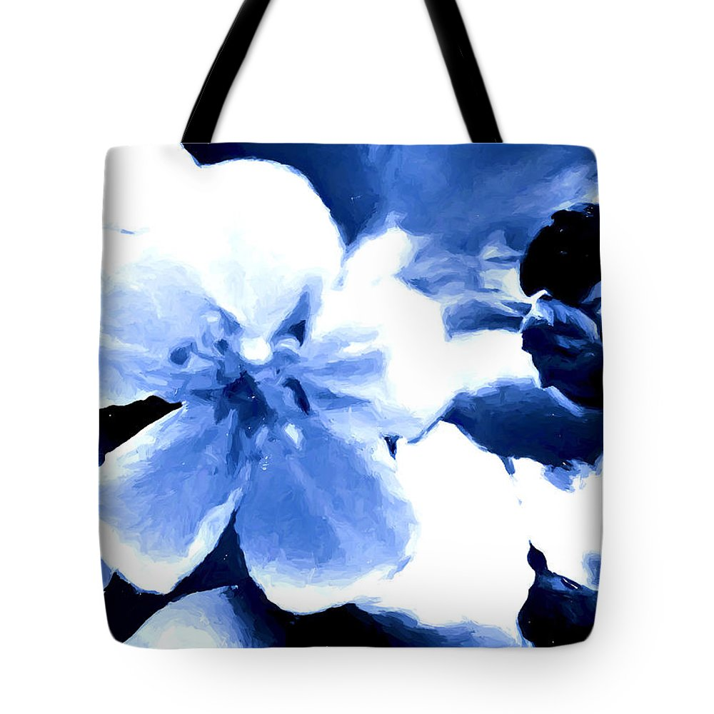 Blue Tote Bag featuring the mixed media Song Of The Bumble Bee by Debra Lynch