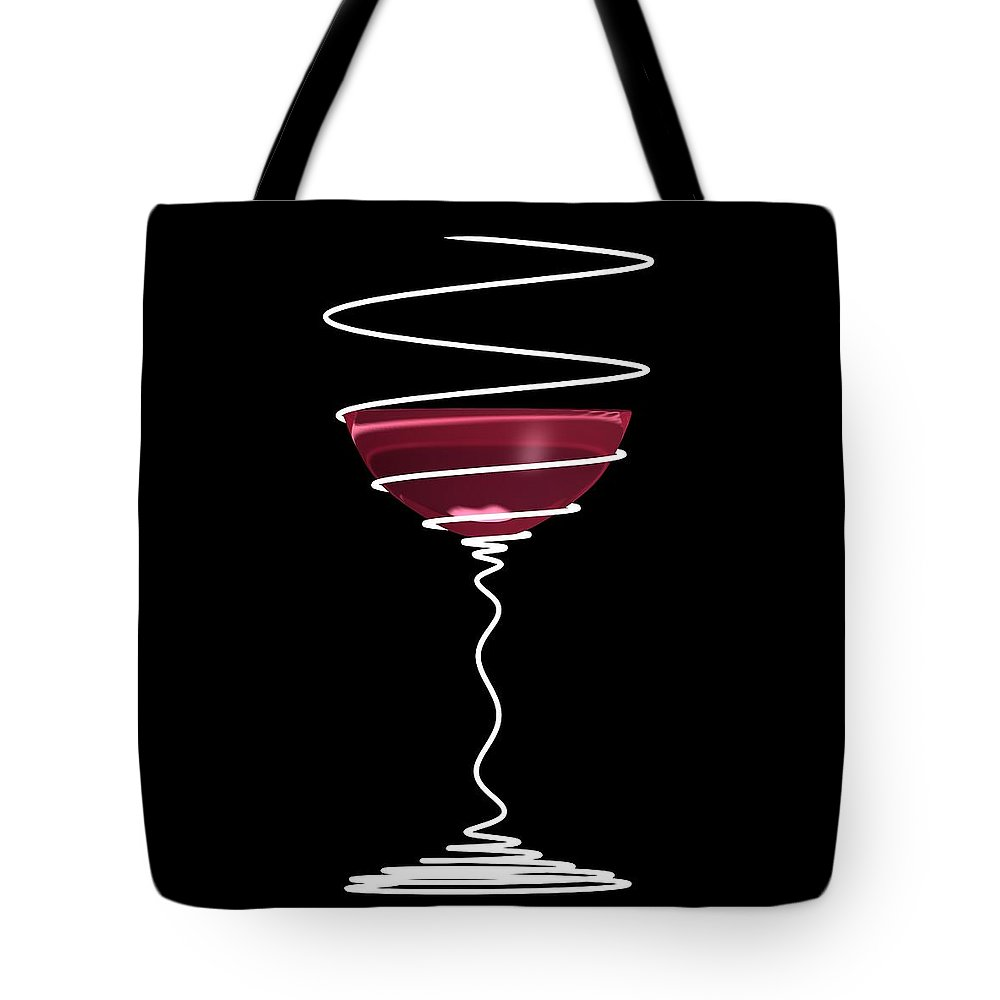 Black Tote Bag featuring the digital art Spiral Wine Glass by Nathan Ryan