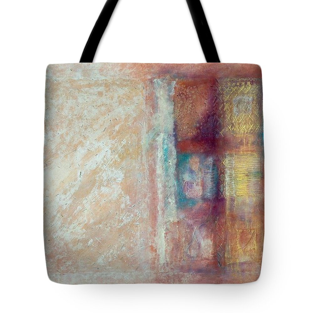 Mixed-media Tote Bag featuring the painting Spirit Matter Cosmos by Kerryn Madsen-Pietsch