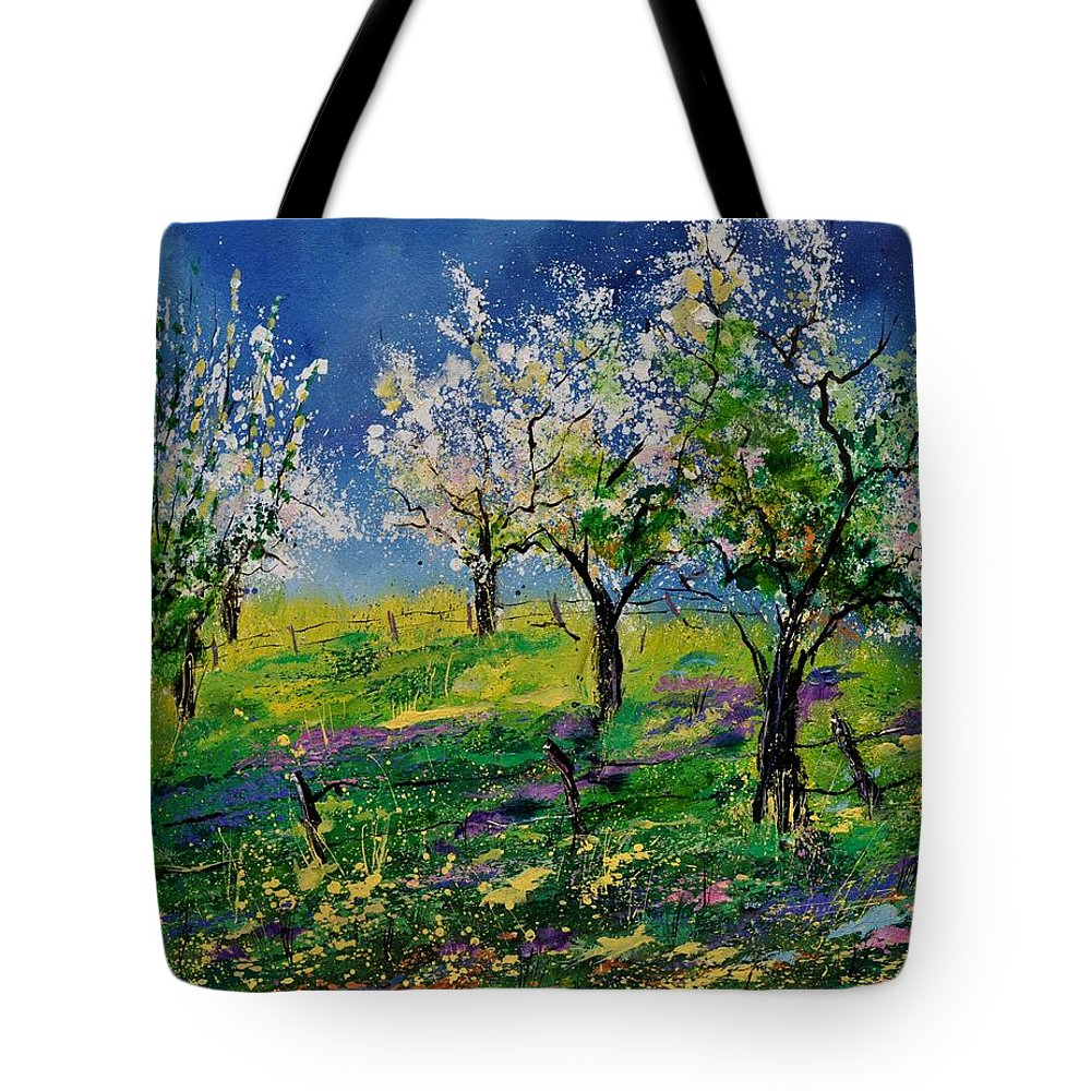Landscape Tote Bag featuring the painting Spring 79 by Pol Ledent