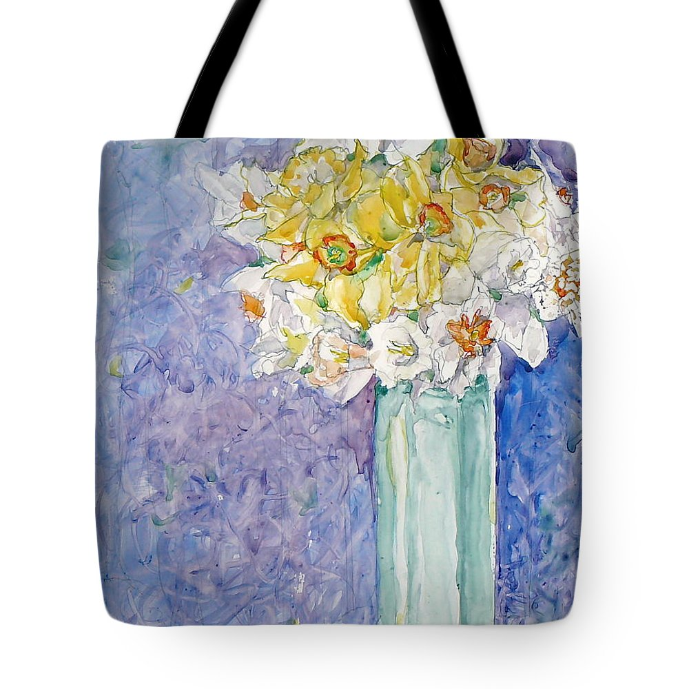 Watercolor Tote Bag featuring the painting Spring Blossoms by Jan Bennicoff