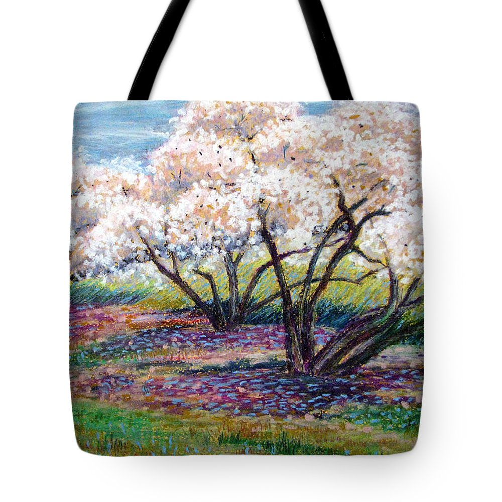 Oil Pastel Tote Bag featuring the painting Spring Has Sprung by Art Nomad Sandra Hansen