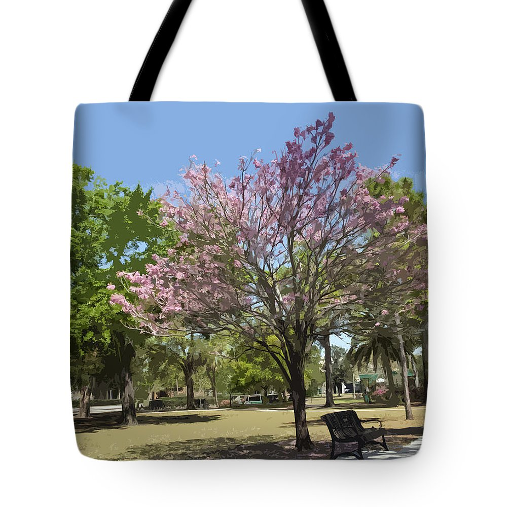 Tree Tote Bag featuring the painting Spring In Winter Park by Allan Hughes