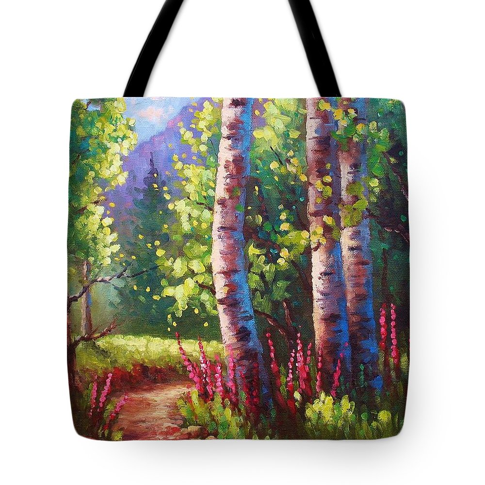 Aspen Tote Bag featuring the painting Spring Path by David G Paul