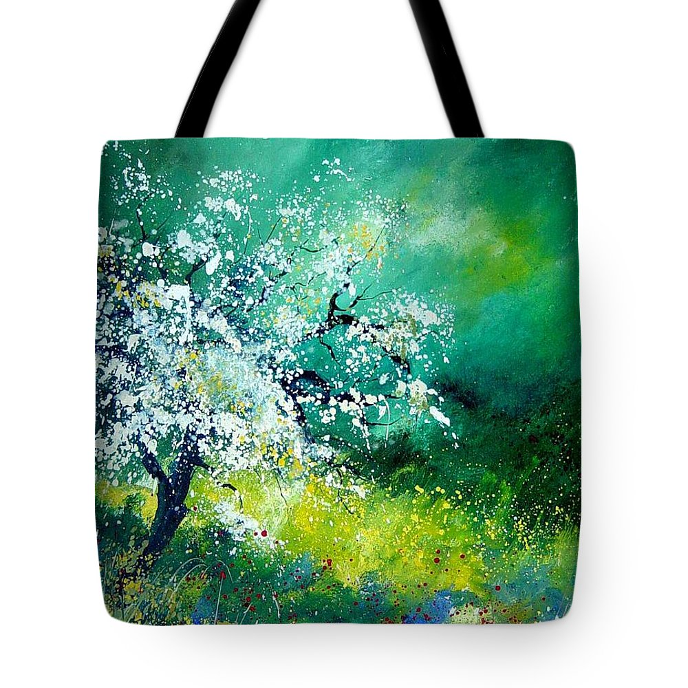 Flowers Tote Bag featuring the painting Spring by Pol Ledent