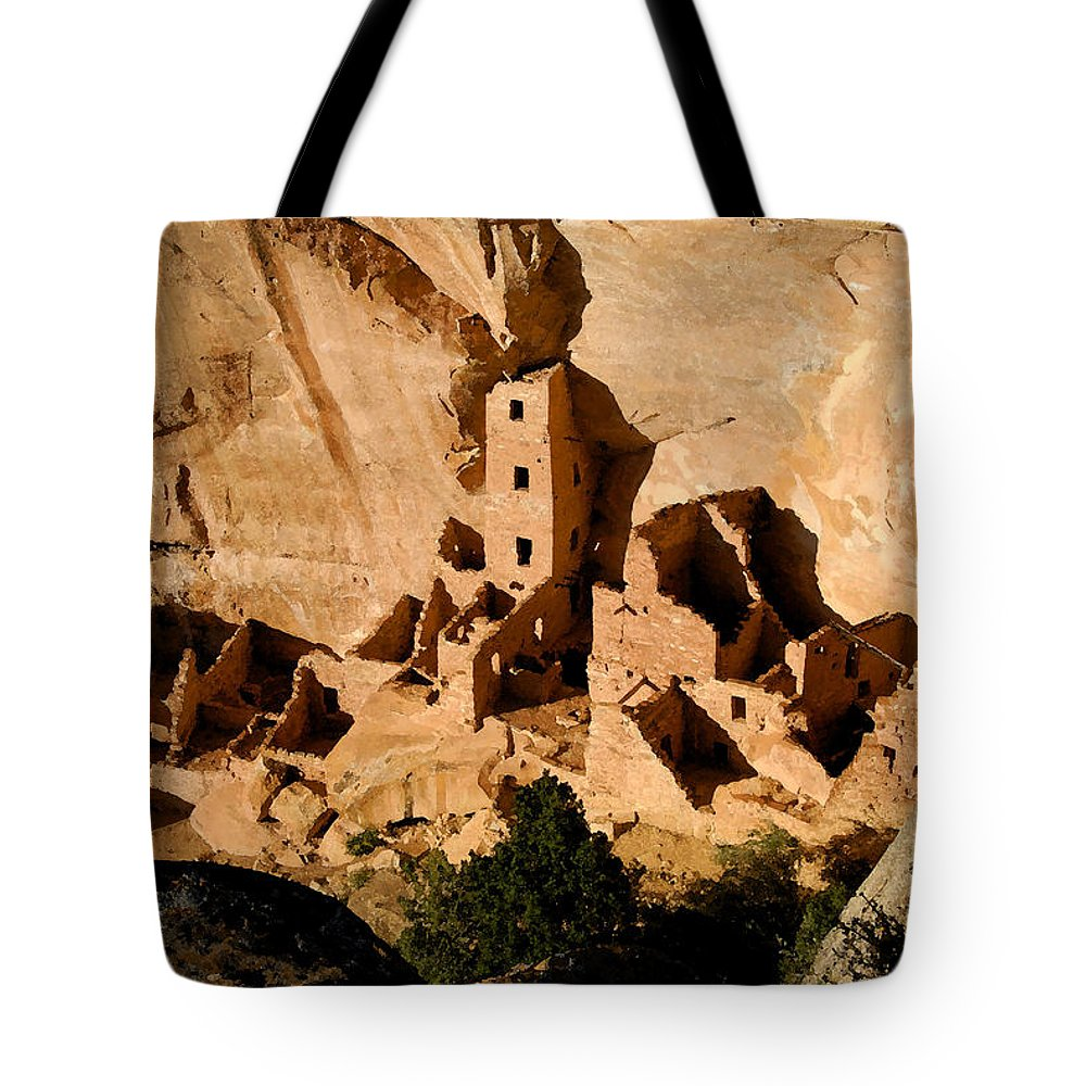 Square Tower Ruin Tote Bag featuring the painting Square Tower Ruin by David Lee Thompson