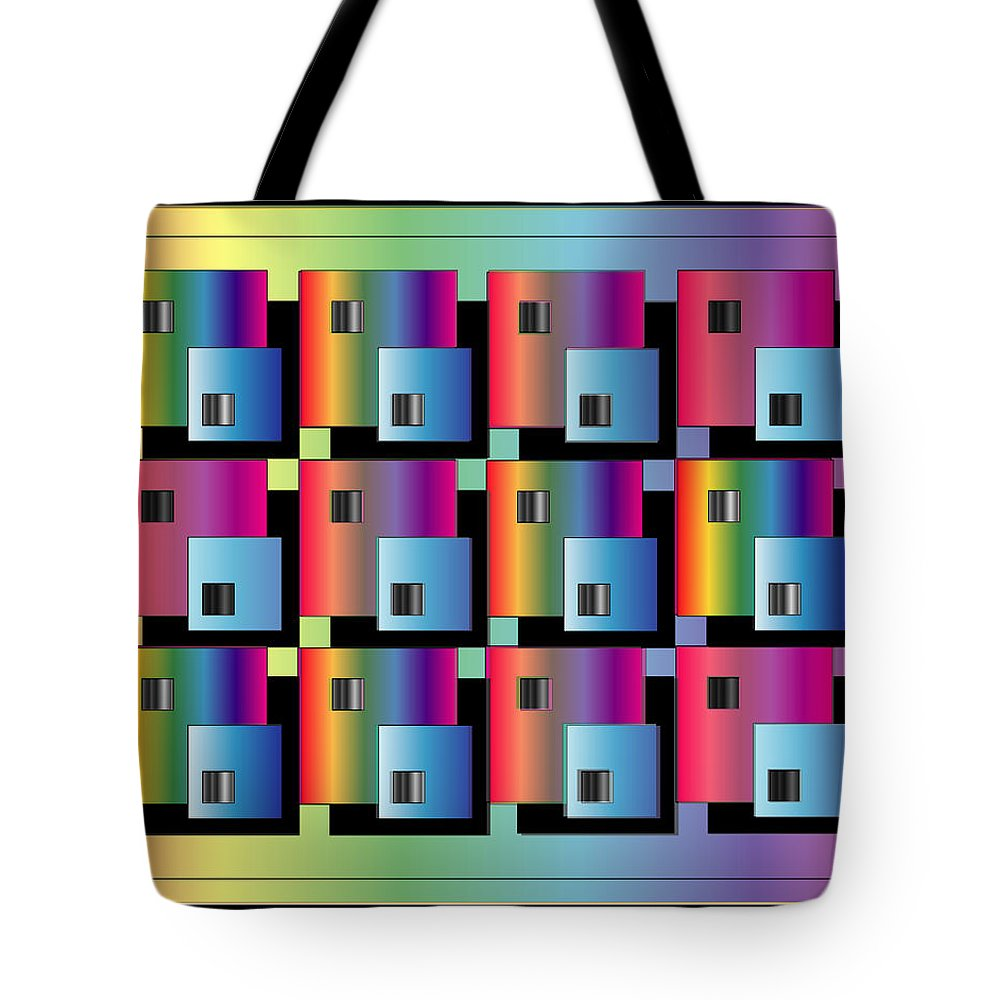 Abstract Tote Bag featuring the digital art Squares by George Pasini