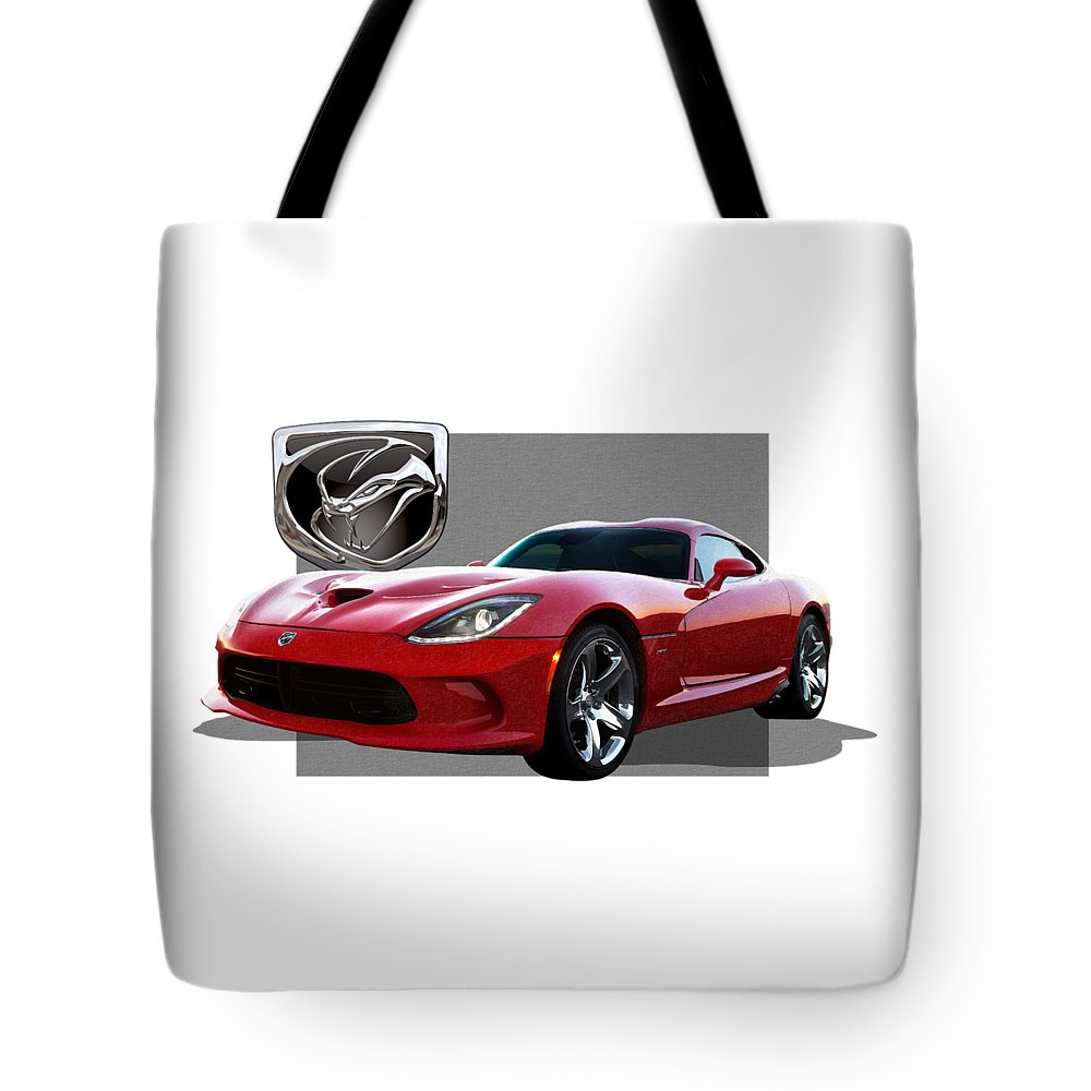 'dodge Viper' By Serge Averbukh Tote Bag featuring the photograph S R T Viper With 3 D Badge by Serge Averbukh