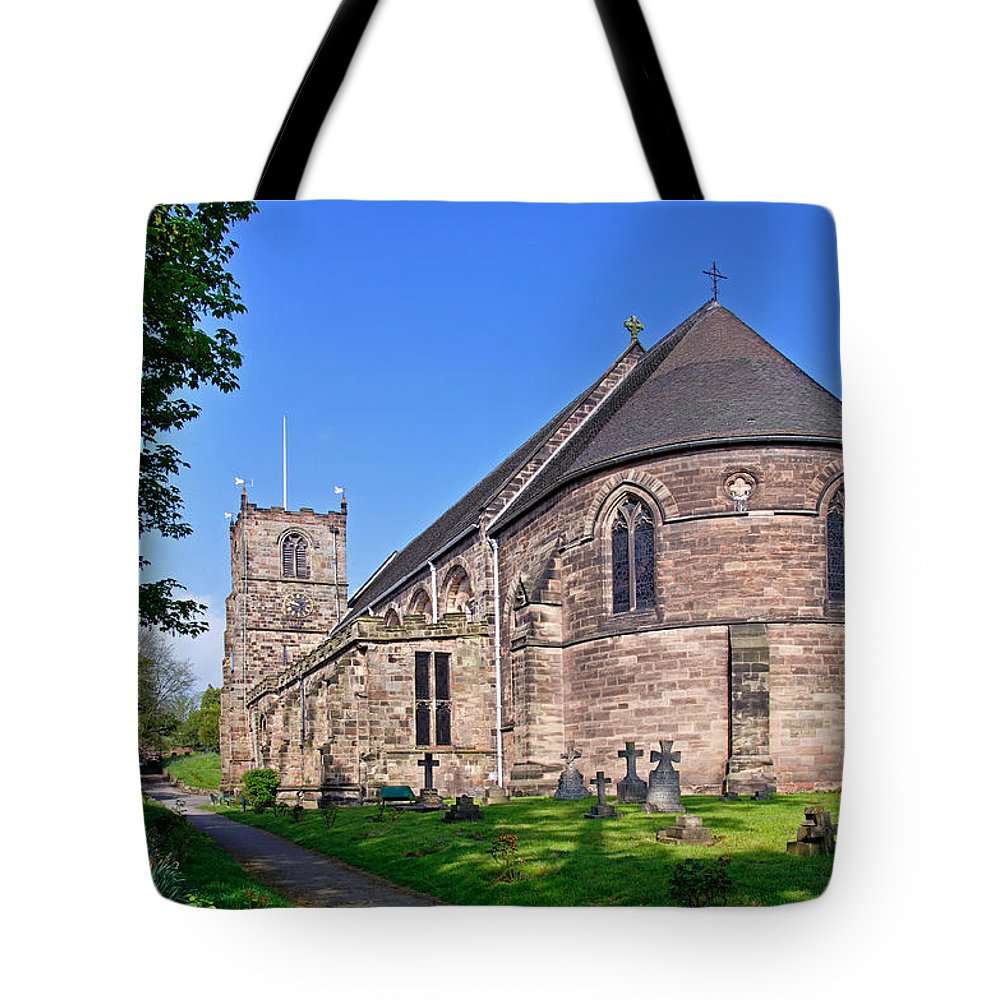 Clock Tote Bag featuring the photograph St Mary's Church - Tutbury by Rod Johnson