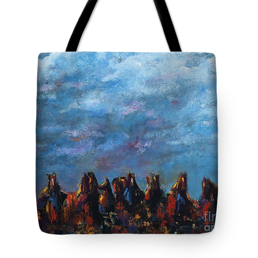Horses Tote Bag featuring the painting Stampede by Frances Marino