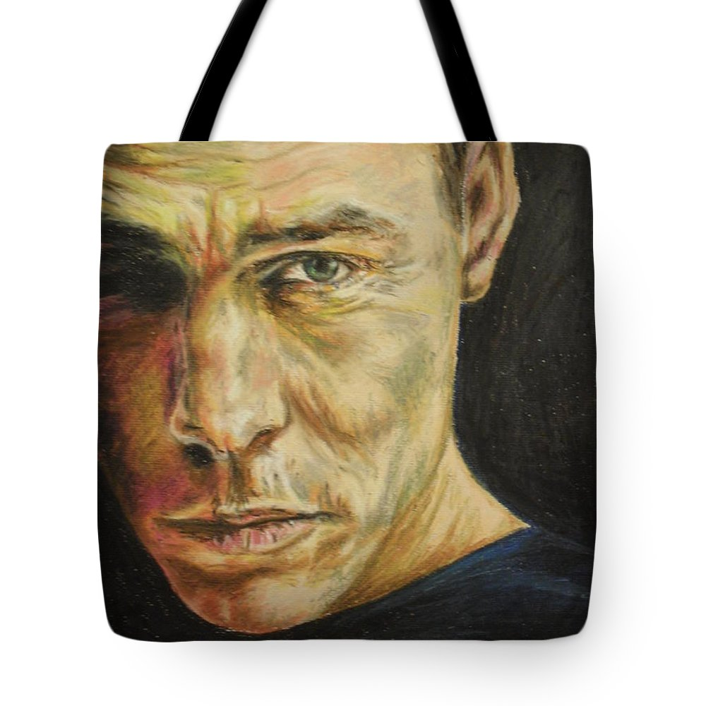 Oil Pastel Stare Realistic Color Eyes Black Portrait Human People Tote Bag featuring the painting Stare by Agnes V
