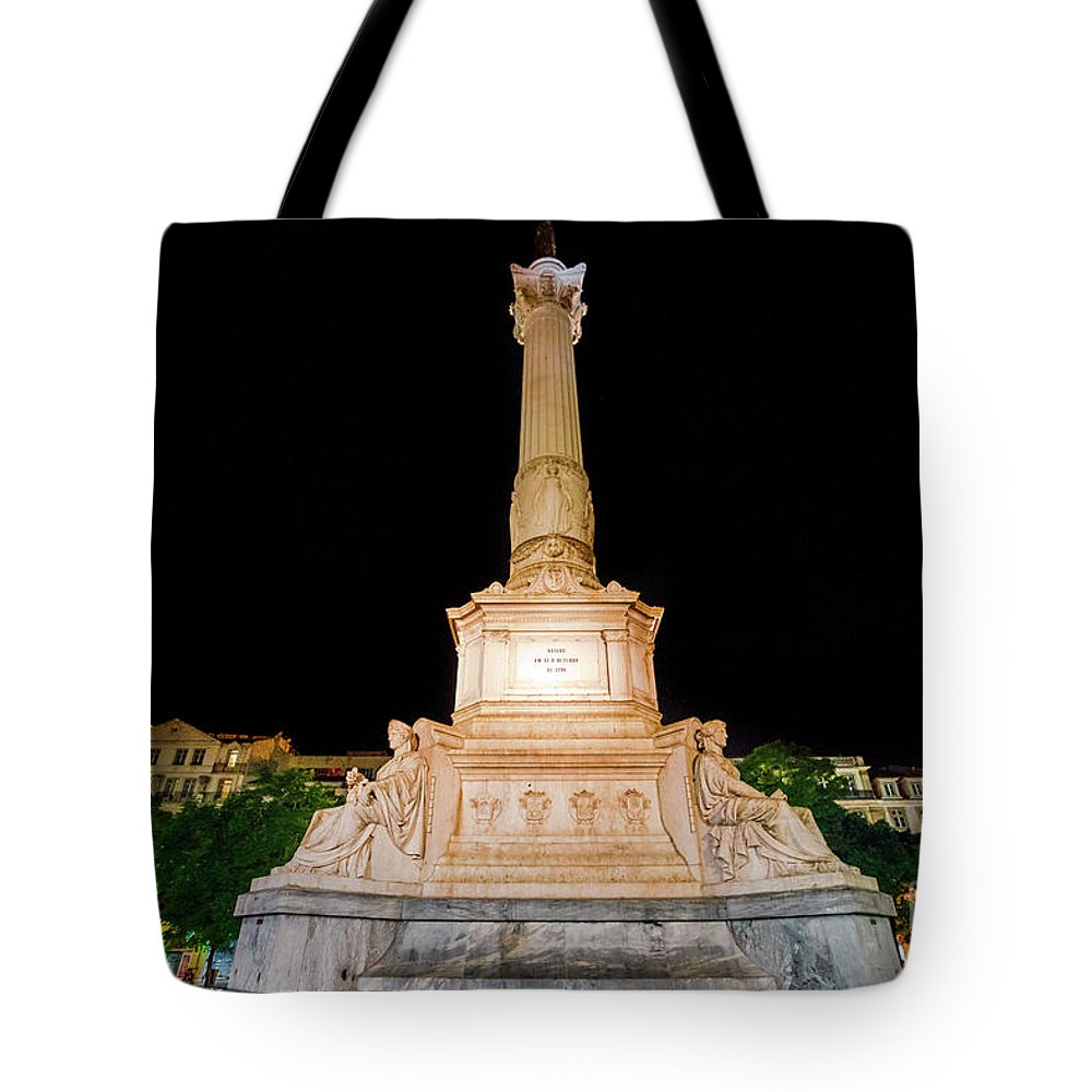 Lisbon Tote Bag featuring the photograph Statue Of Dom Pedro Iv by Benny Marty