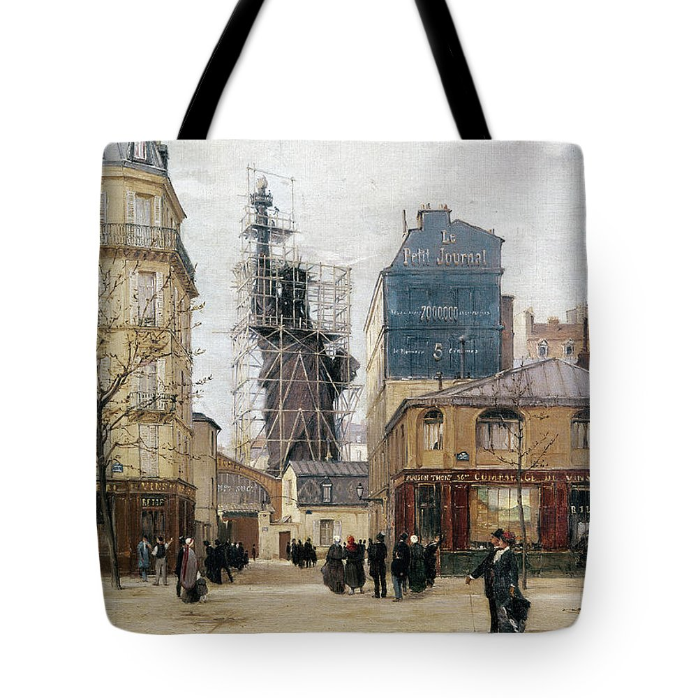 1884 Tote Bag featuring the photograph STATUE OF LIBERTY, c1884 by Granger