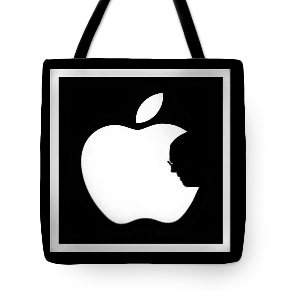 Black And White Tote Bag featuring the photograph Steve Jobs Apple by Rob Hans