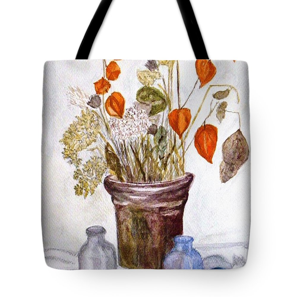 Still Life Tote Bag featuring the painting Still Life With Chinese Lanterns by Peggy King