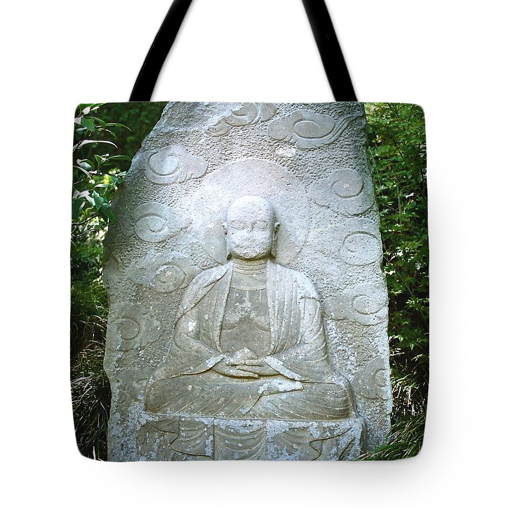 Stone Tote Bag featuring the photograph Stone Buddha by Dean Triolo