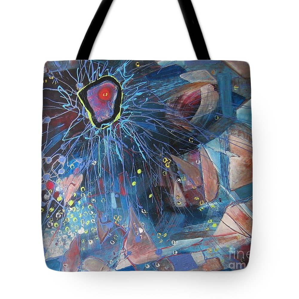 Abstract Paintings Tote Bag featuring the painting Storm At Sea by Seon-Jeong Kim
