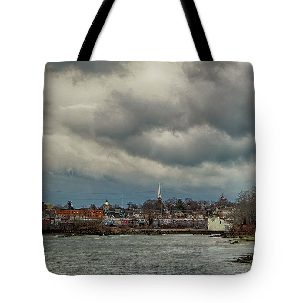 River Tote Bag featuring the photograph Storm Clouds Over The Bass River by Scott Hufford