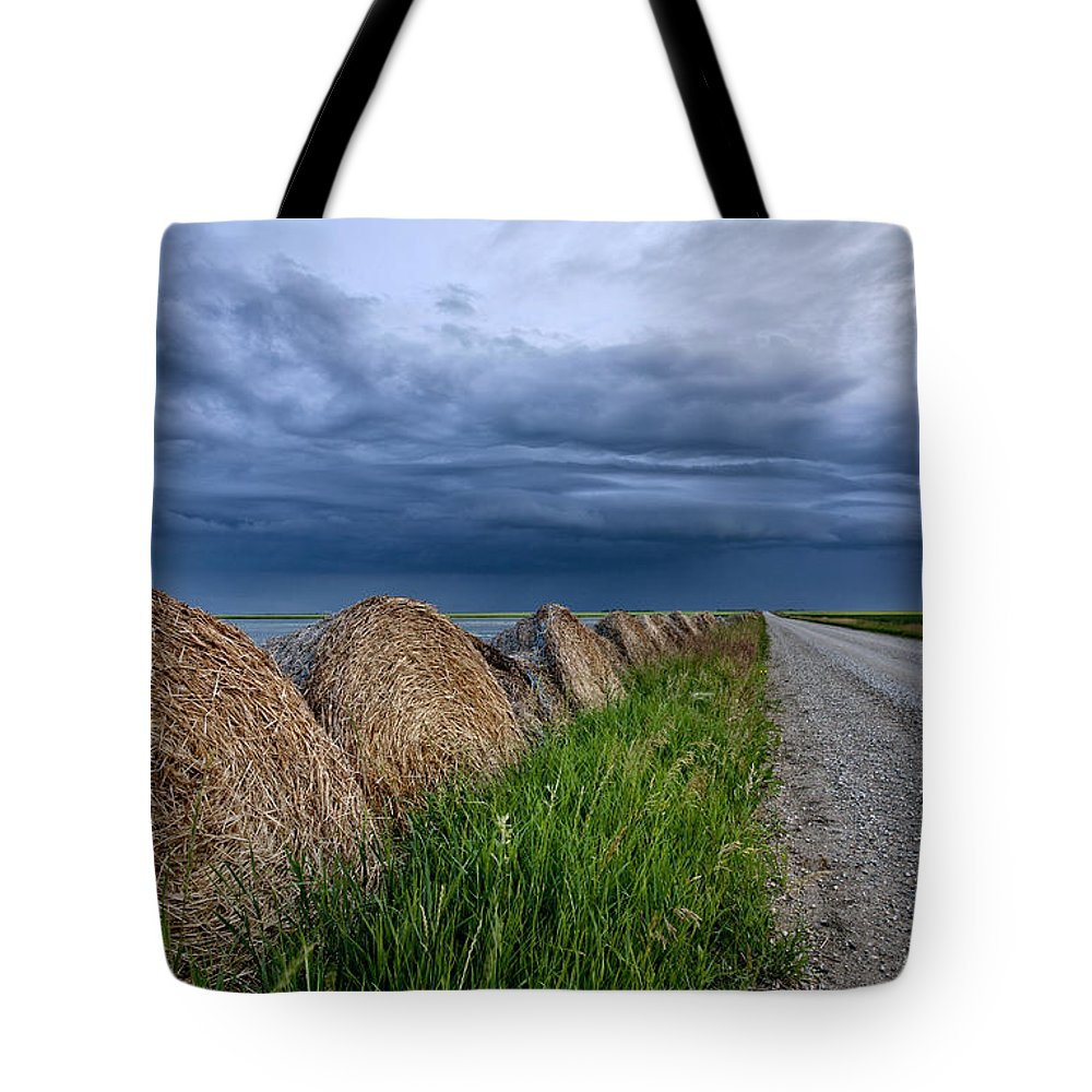 Landscape Tote Bag featuring the photograph Storm Clouds Prairie Sky by Mark Duffy