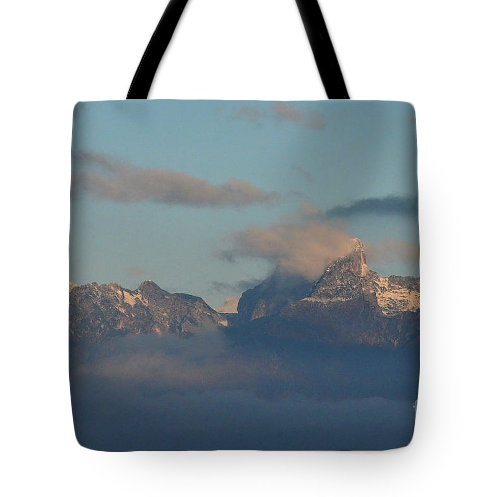 Mountains Tote Bag featuring the photograph Stunning View The Dolomites Mountains In Italy by DejaVu Designs