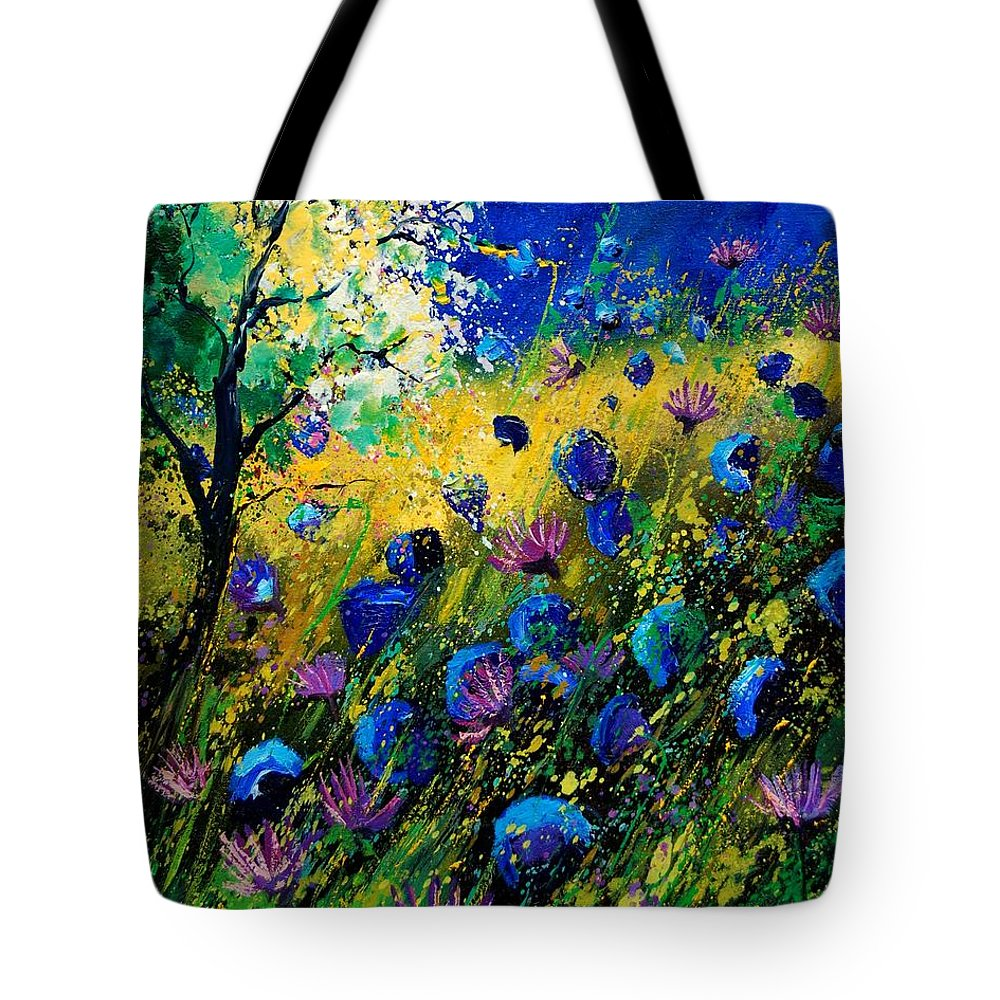 Poppies Tote Bag featuring the painting Summer 450208 by Pol Ledent