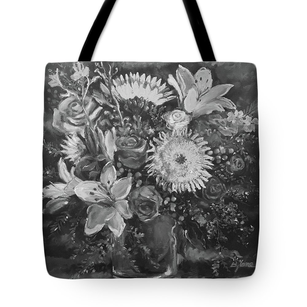 Black And White Floral Tote Bag featuring the painting Summer Magic, Floral Bouquet by BJ Lane
