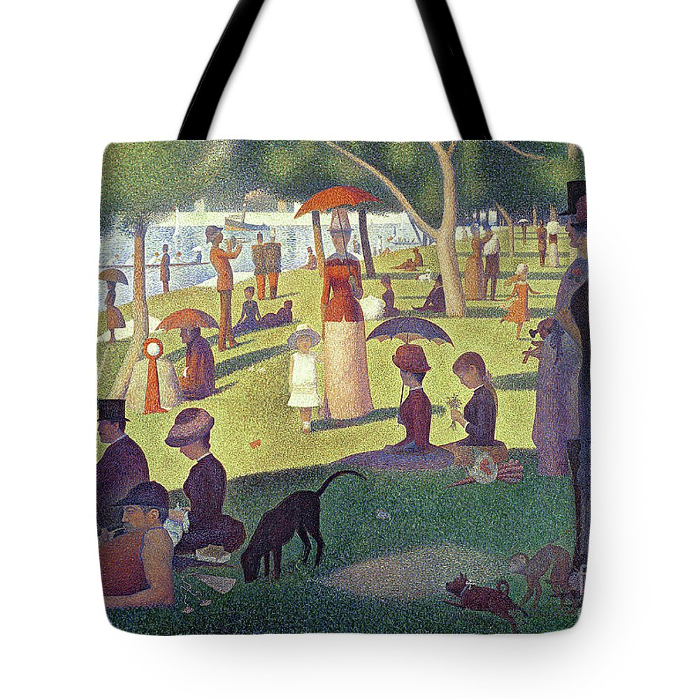 Sunday Afternoon On The Island Of La Grande Jatte Tote Bag featuring the painting Sunday Afternoon On The Island Of La Grande Jatte by Georges Pierre Seurat