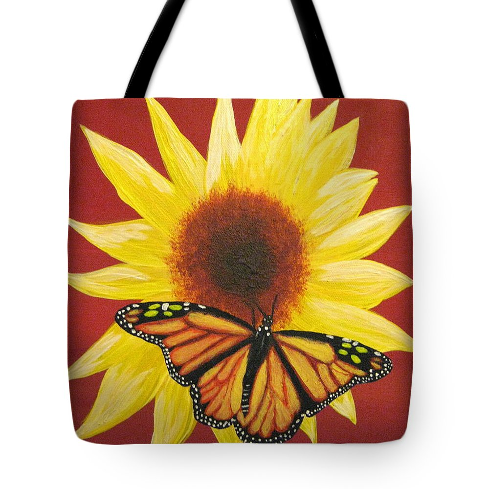 Sunflower Tote Bag featuring the painting Sunflower Monarch by Debbie Levene