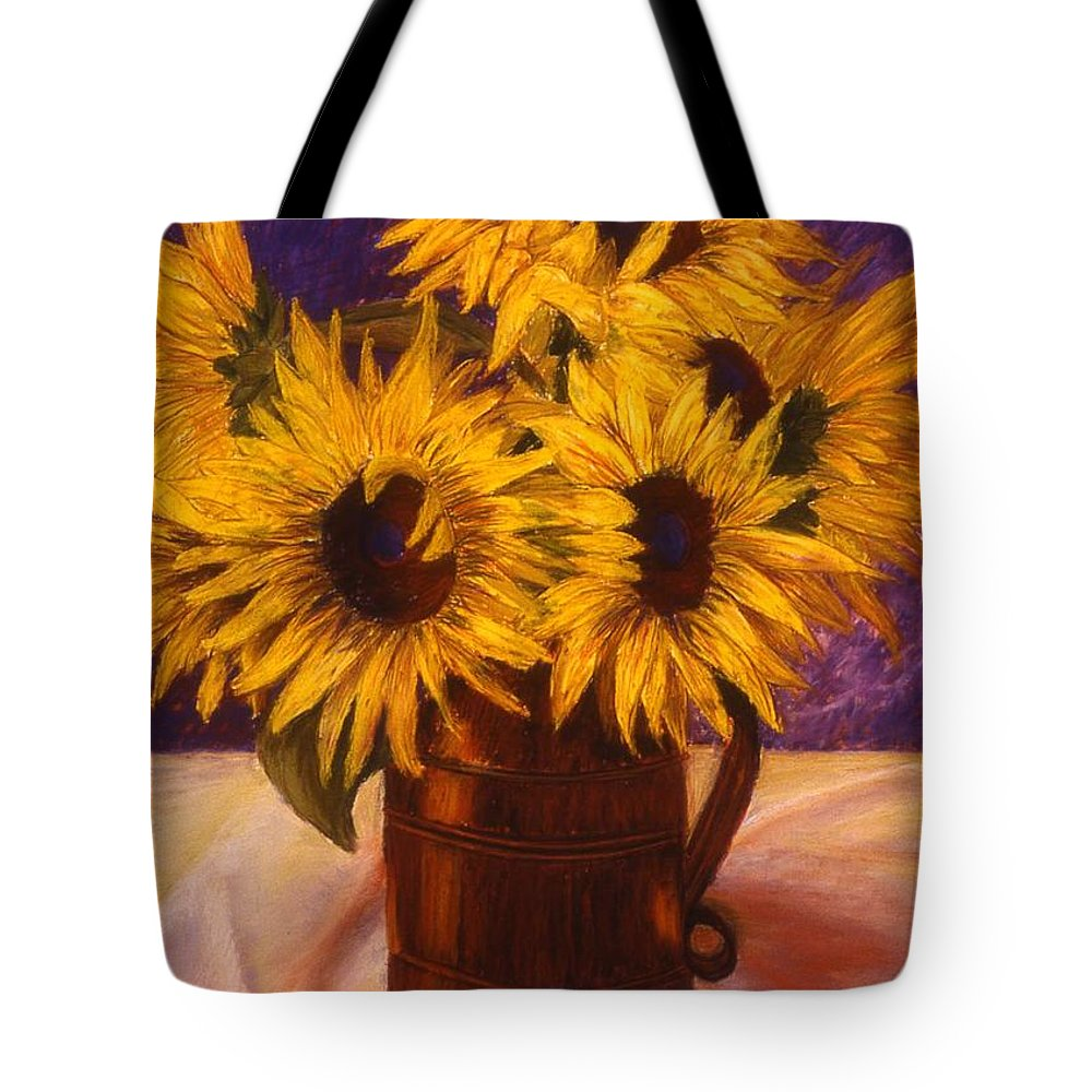 Still Life Tote Bag featuring the painting Sunflowers In A Copper Can by Mary Erbert