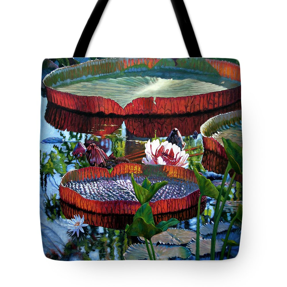 Water Lilies Tote Bag featuring the painting Sunlight Shining Through by John Lautermilch