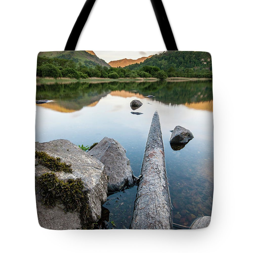Landscape Tote Bag featuring the photograph Sunrise at Ullswater, Lake District, North West England by Anthony Lawlor