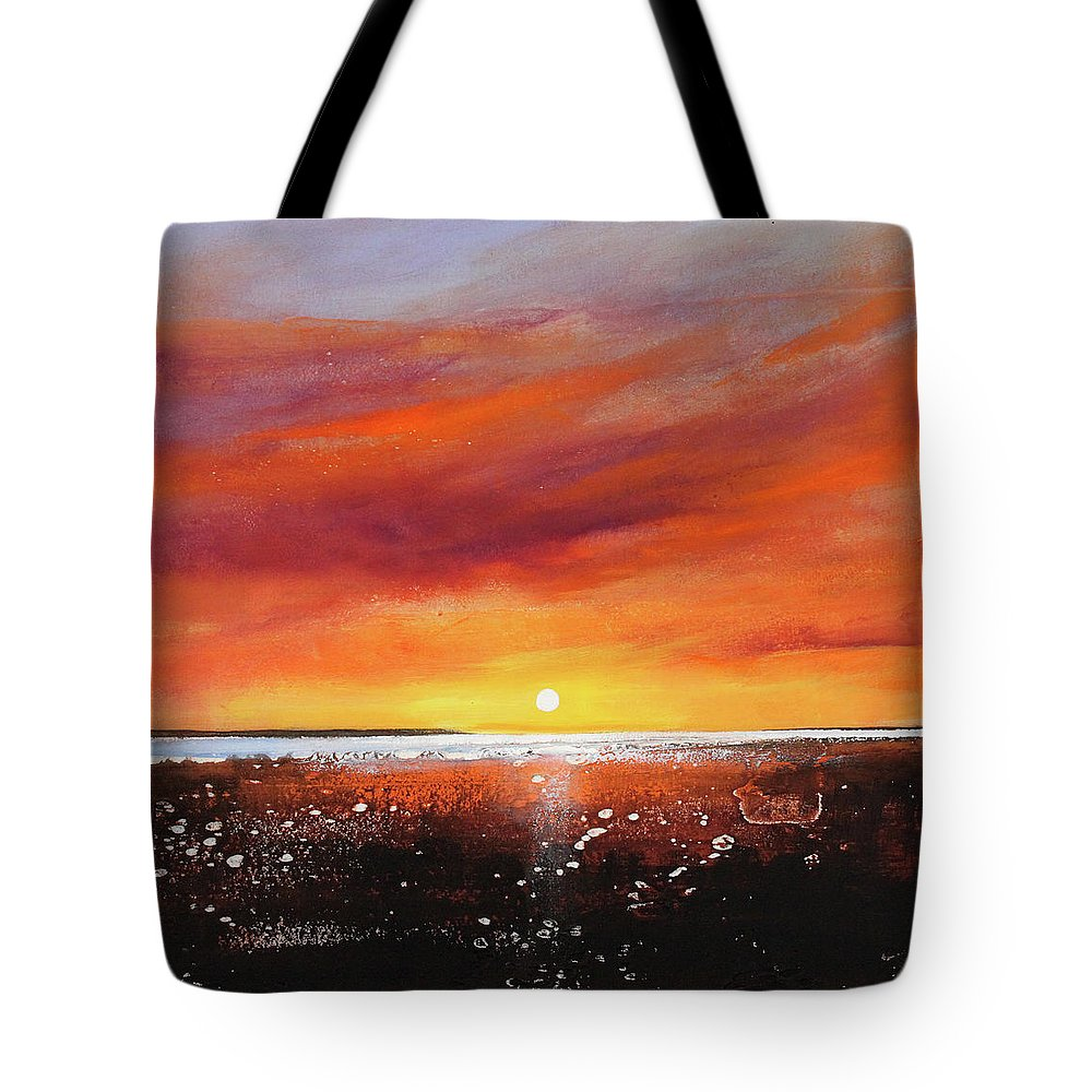 Sunrise Tote Bag featuring the painting Sunrise Beach by Toni Grote