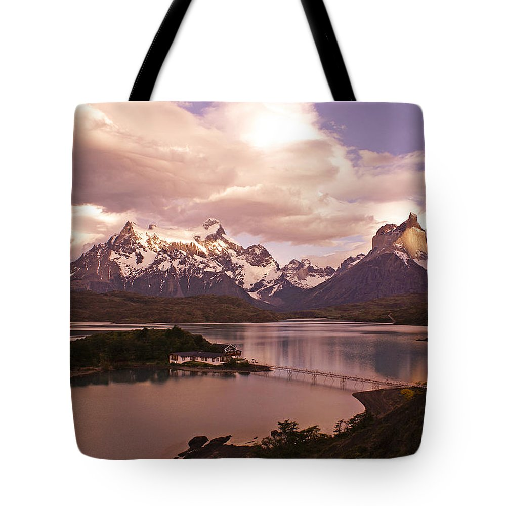 Chile Tote Bag featuring the photograph Sunrise In Torres Del Paine by Michele Burgess