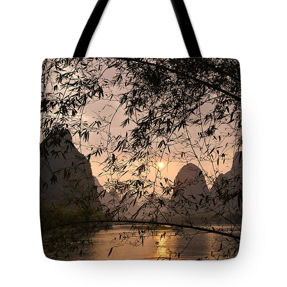 Asia Tote Bag featuring the photograph Sunset On The Li River by Michele Burgess