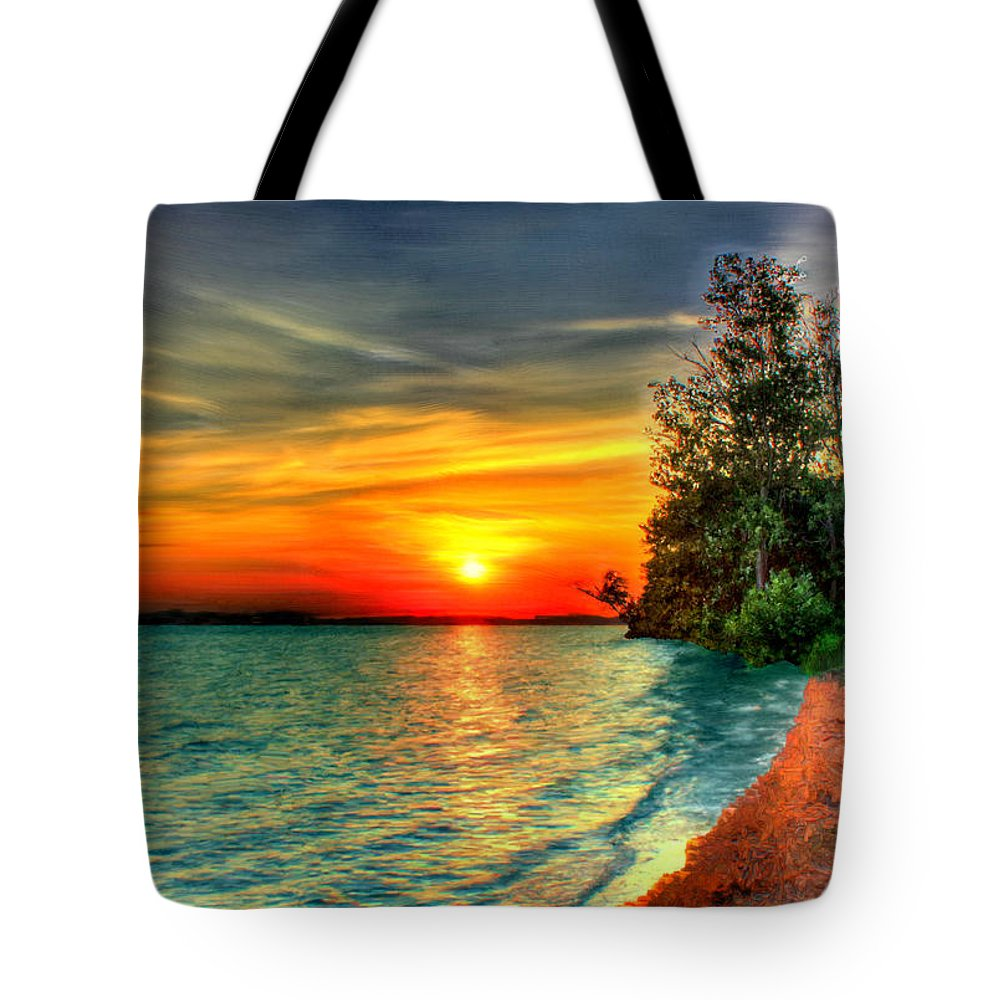 Bruce Tote Bag featuring the painting Sunset On The Shore by Bruce Nutting