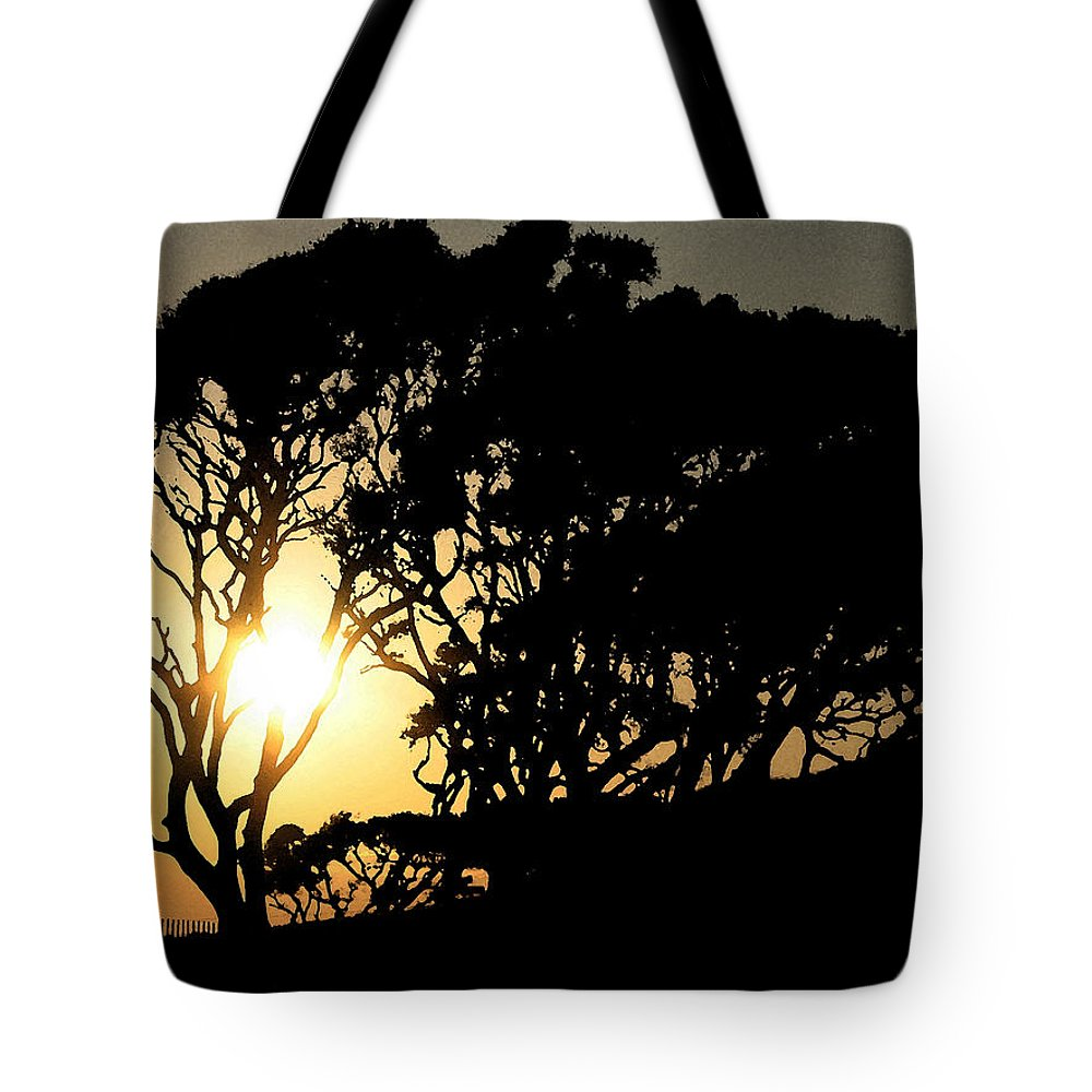 Tree Tote Bag featuring the digital art Sunset Silhouette by Stacey May