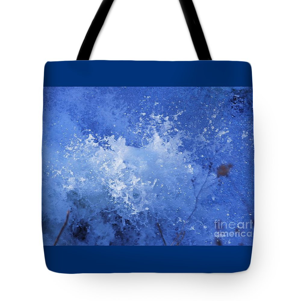 Water Art Surreal Nature Meditation Minimal Outdoors Simplicity Tranquil Movement Color Blue Metal Frame Suggested Invitation To A Shower Card Canvas Print Poster Print Available On Phone Cases T Shirts Tote Bags Shower Curtains Coffee Mugs Pouches Weeender Tote Ags And Throw Pillows Tote Bag featuring the photograph Water In Motion, Harper's Ferry by Poet's Eye