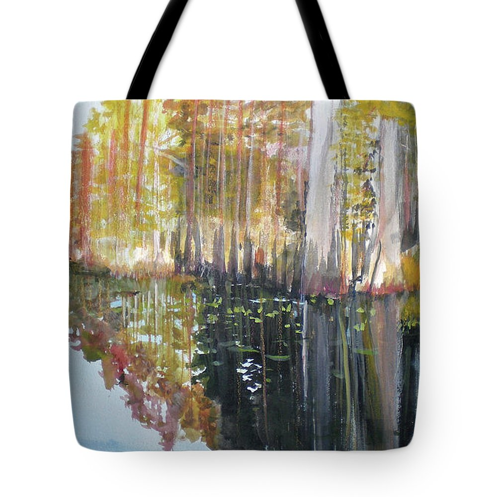 Landscape Of A South Florida Swamp At Dusk Feels Very Wild Tote Bag featuring the painting Swamp Reflection by Hal Newhouser