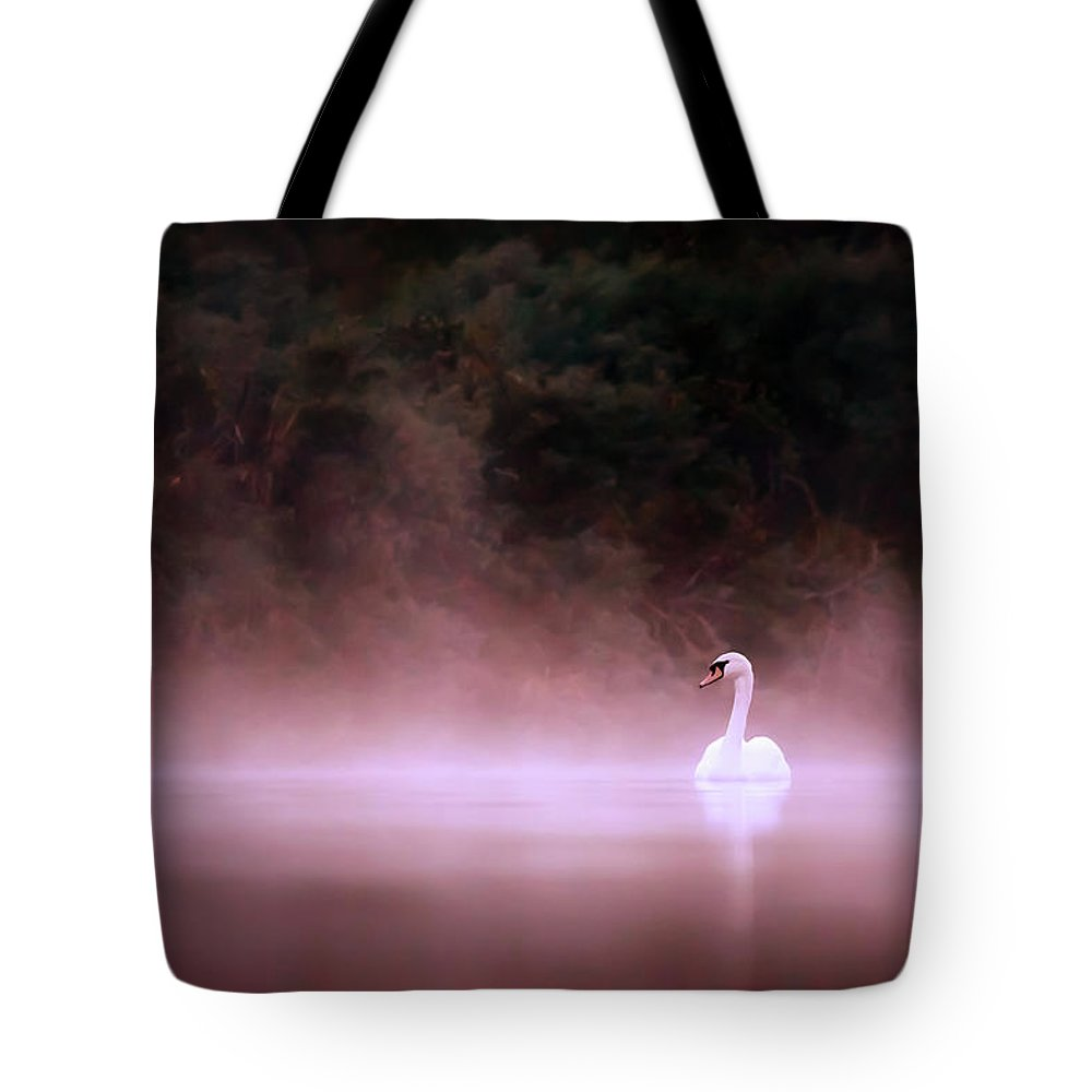 Mute Swan Tote Bag featuring the photograph Swan In The Mist by Roeselien Raimond