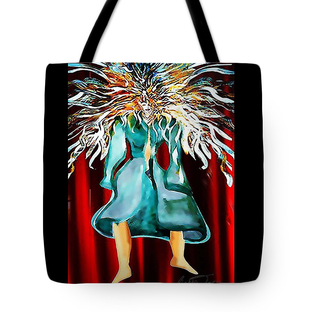 Red Tote Bag featuring the painting Taboo by Gabby Tary