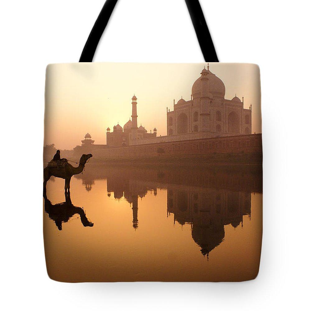 Sunrise Tote Bag featuring the photograph Taj Mahal At Sunrise by Michele Burgess