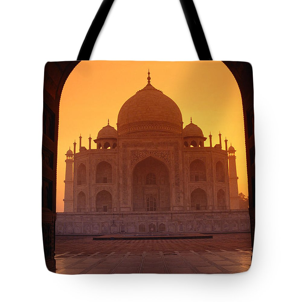 Agra Tote Bag featuring the photograph Taj Mahal View by Gloria & Richard Maschmeyer - Printscapes