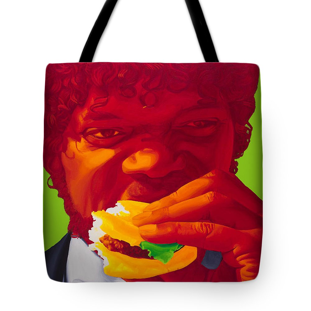 Pulp Fiction Tote Bag featuring the painting Tasty Burger by Ellen Patton