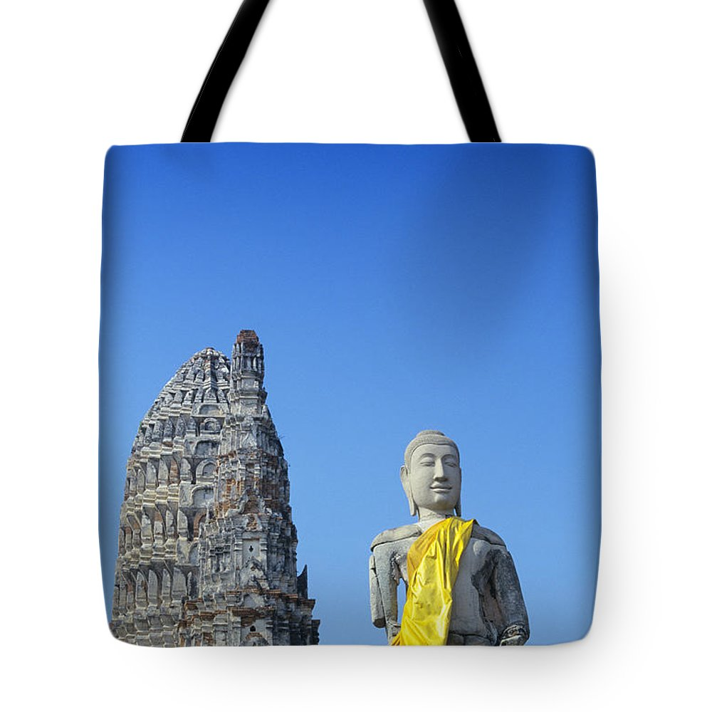 Ancient Tote Bag featuring the photograph Thailand, Ayathaya by Gloria & Richard Maschmeyer - Printscapes