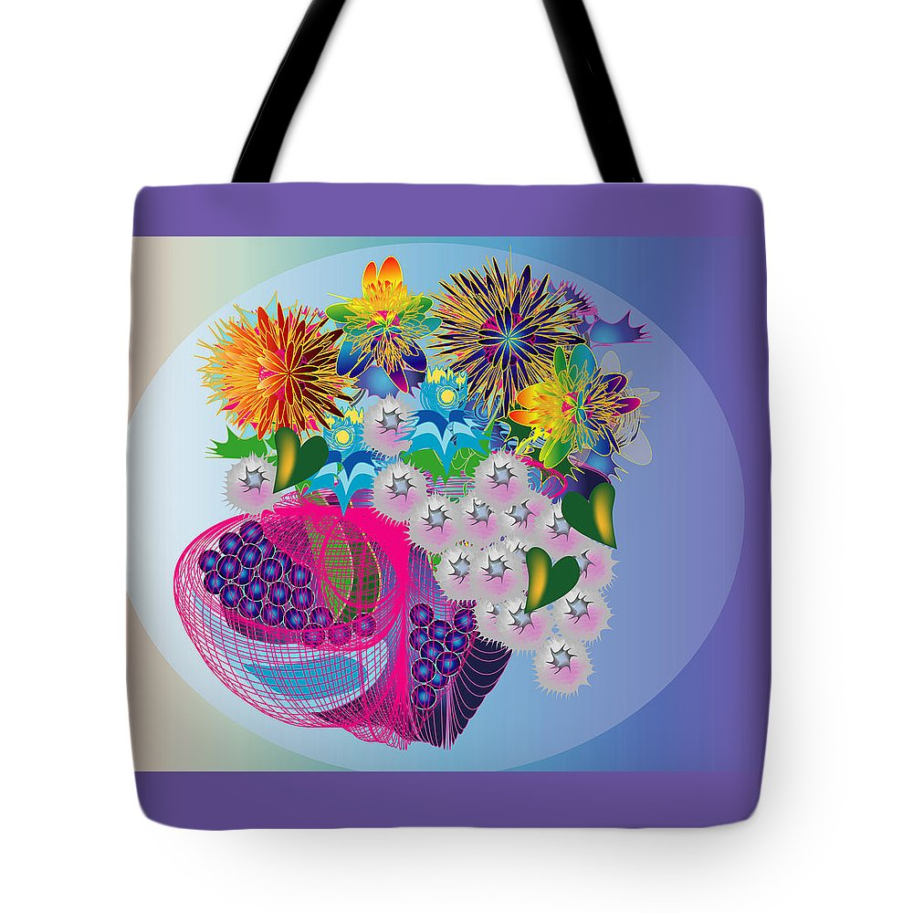 Flowers Tote Bag featuring the digital art The Arrangement by George Pasini