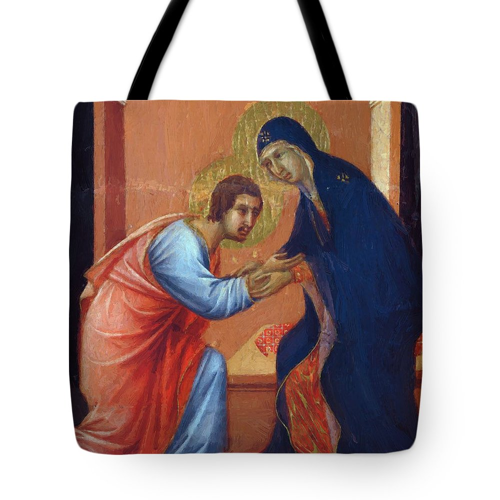 The Tote Bag featuring the painting The Arrival Of The Apostles To The Virgin Fragment 1311 by Duccio
