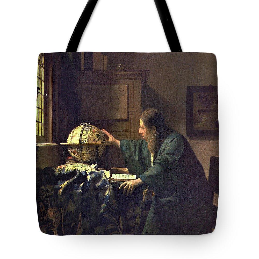 Jan Vermeer Tote Bag featuring the painting The Astronomer by Jan Vermeer