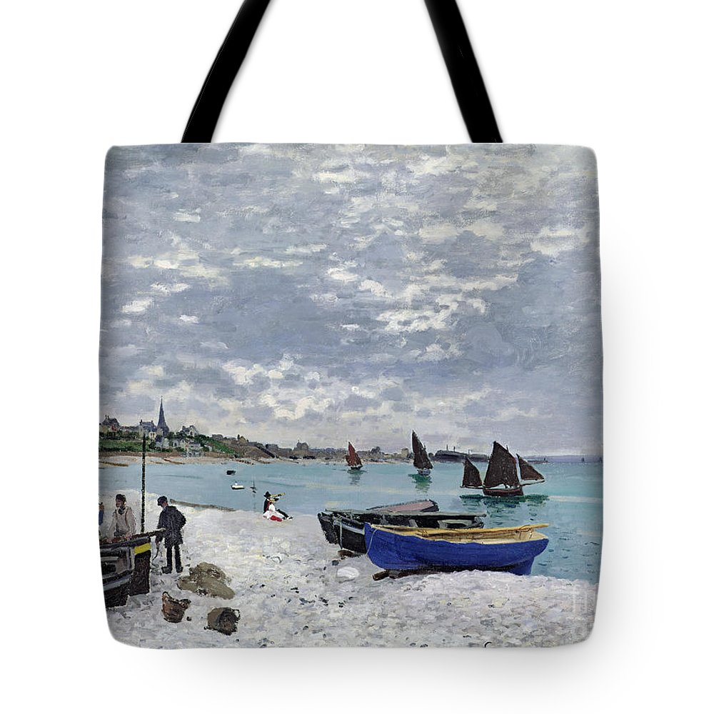 Coastal;french;rowing Boat;sailing;sainte Adresse; Boats Tote Bag featuring the painting The Beach At Sainte Adresse by Claude Monet